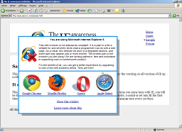 The IE awareness initiative screenshot